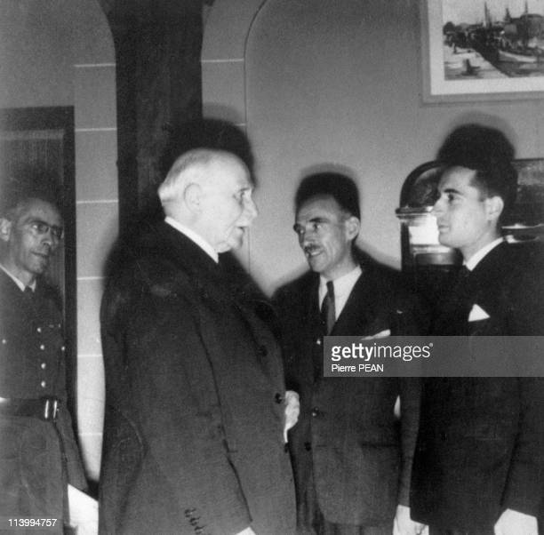 Mitterrand during the Second World War In France In December 19371942 the 15th october with marechal Petain Marcel Barrois and general Campet at the...