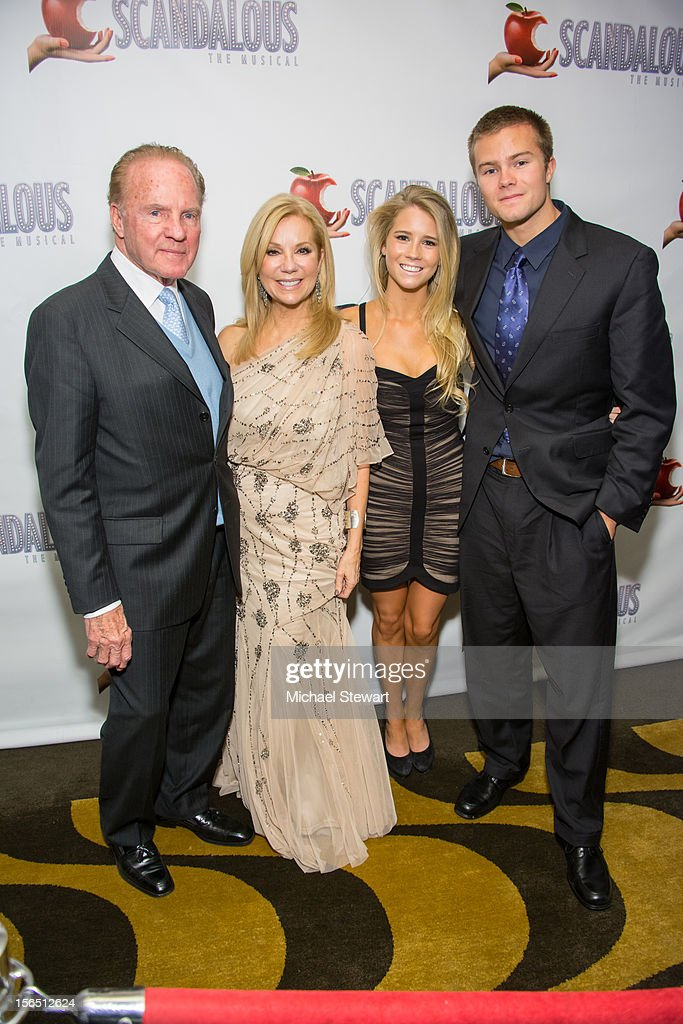 Fmr. NFL player Frank Gifford, tv peronality Kathie Lee Gifford, Cassidy Gifford and Cody Giffford attend the 'Scandalous' Broadway Opening Night after party at Copacabana on November 15, 2012 in New York City.
