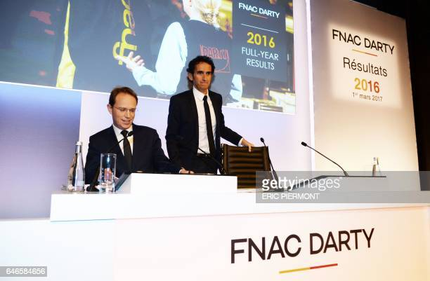 Fnac Darty Chairman and CEO Alexandre Bompard and CFO Matthieu Malige arrive to give a press conference to present the 2016 group's results in Paris...