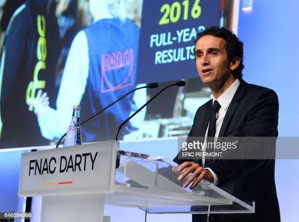 Fnac Darty Chairman and CEO Alexandre Bompard gives a press conference to present the 2016 group's results in Paris on March 1st 2017 / AFP PHOTO /...