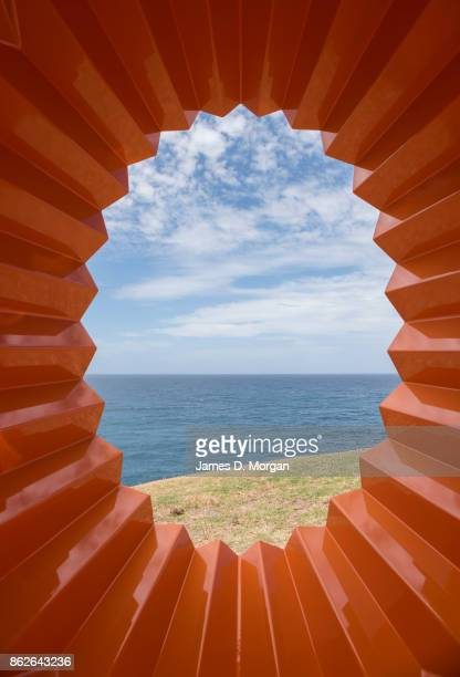 'Foci' by Karl Meyer with the ocean behind at Sculpture By The Sea on October 18 2017 in Sydney Australia The annual art event draws tens of...