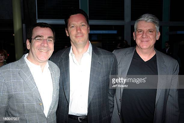 Focus Features' Andrew Karpen Jack Foley and John Lyons arrive at the premiere of Greenberg presented by Focus Features at ArcLight Hollywood on...