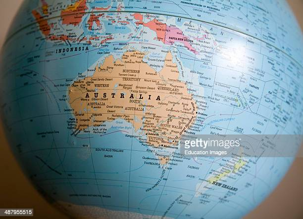 Focus on Australia and Pacific on world globe