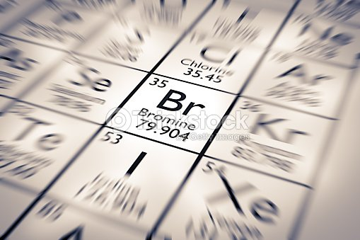 Focus On Bromine Chemical Element From The Mendeleev Periodic Table