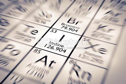 Focus On Iodine Chemical Element From The Mendeleev Periodic Table