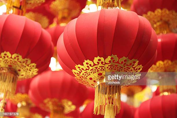 Focused shot of group of red Chinese lanterns