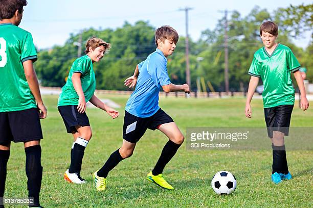 Focused soccer player during game