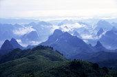 Fog around the peaks and hills