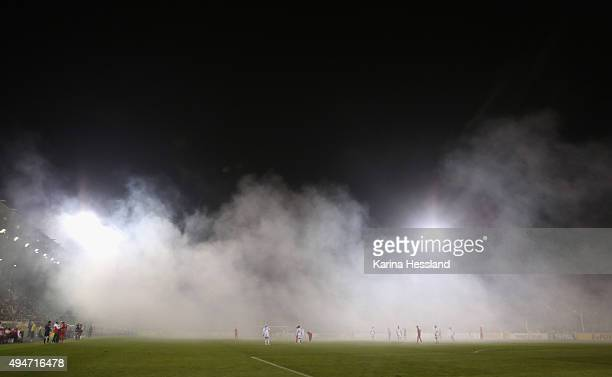 Fog caused by Pyrotechnics seen in the stadium during the DFB Cup between FC Carl Zeiss Jena and VFB Stuttgart at ErnstAbbeSportfeld on October 28...