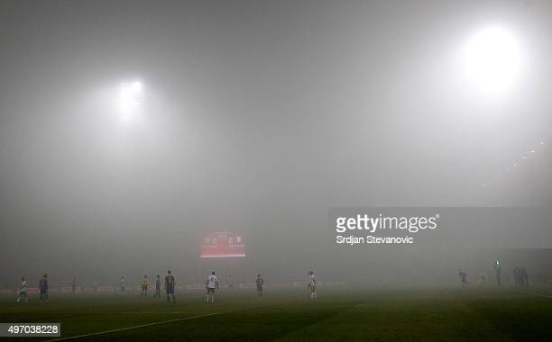 HERZEGOVINA NOVEMBER 13 Fog comes down during the EURO 2016 Qualifier PlayOff First Leg between Bosnia and Herzegovina and Republic of Ireland at...