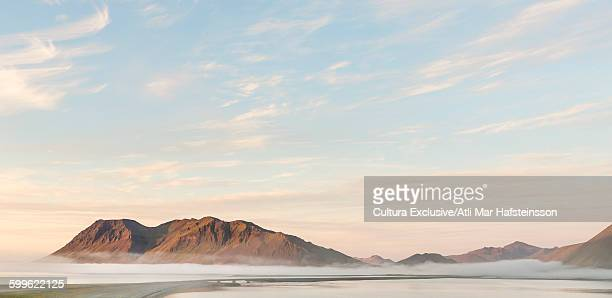 Fog covered mountains, Kolgrafafjordur, Snaefellsnes peninsula, Iceland