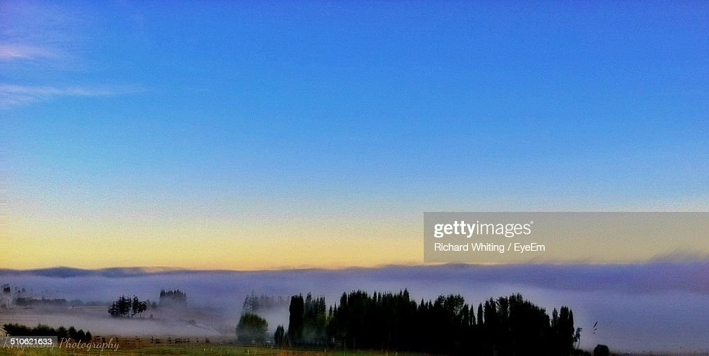 Fog covering tranquil land
