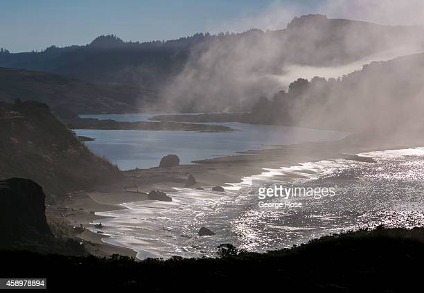 Fog hovers over the rocky coastline and the Russian River on November 10 near Jenner California Located one hour north of San Francisco Sonoma County...