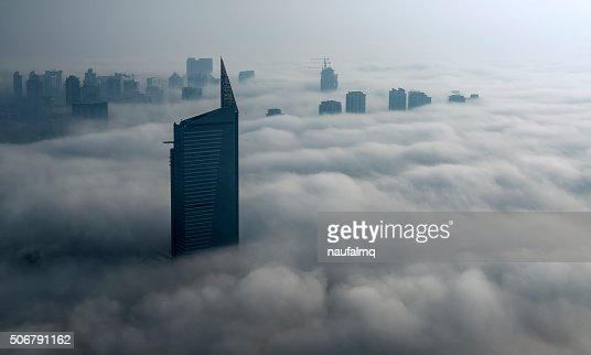 Fog in Dubai Marina : Stock Photo