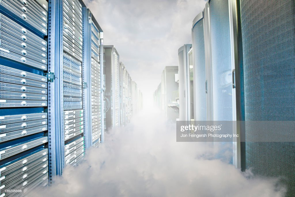 Fog in server room : Stock Photo
