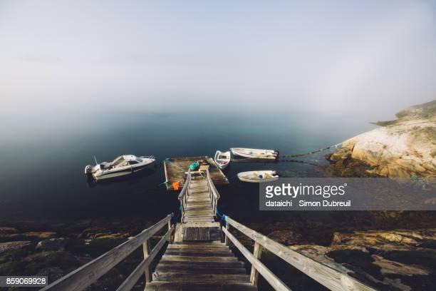 Fog in Tasiusaq harbor - Tasermiut fjord