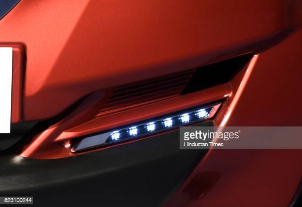 Fog light of new Datsun RediGo with one litre petrol engine on display during its launch on July 26 2017 in New Delhi India New Datsun rediGo will...