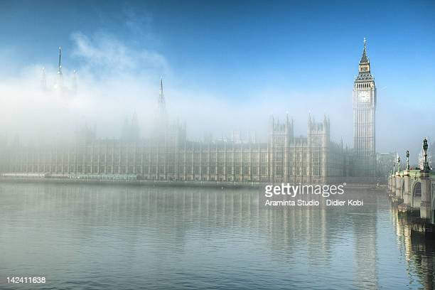 Fog on parliament building in London