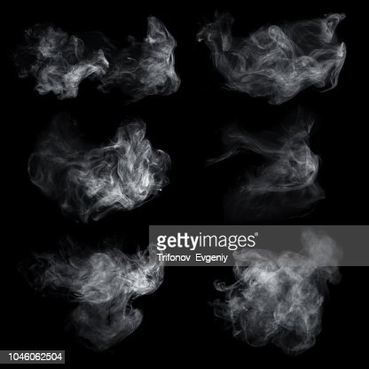Fog or smoke set isolated on black background. White cloudiness, mist or smog background. : Stock Photo