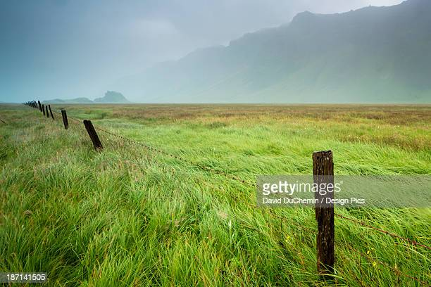 Fog Over A Field With Long Grass And Wooden Fence Posts With The Mountains In The Background