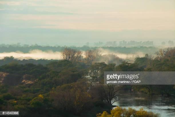 Fog under natural river