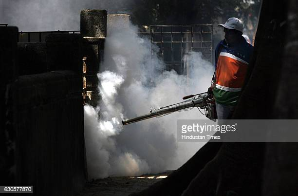 Fogging Maharashtra Navnirman Sena members are using smoke guns to kill mosquitoes at Shivaji Park today They will be going on a campaign to stop...