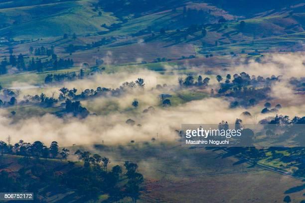 Foggy area seen from the sky in the Scenic Rim Region, Queensland, Australia