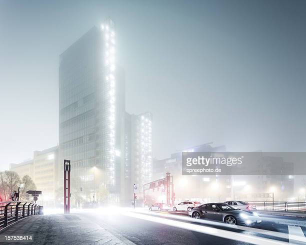 Foggy Berlin Cityscape at Night