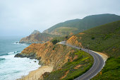 Foggy Highway 1 on the Pacific Coast