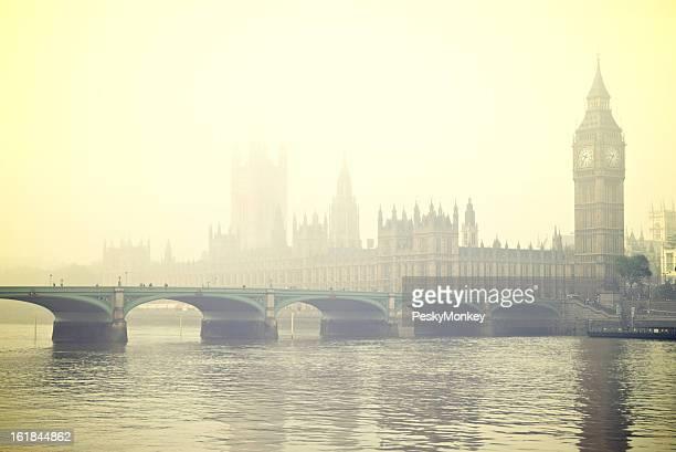 Foggy London Big Ben Westminster Bridge Thames