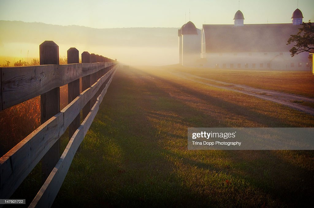 Foggy morning farm fence at sunrise