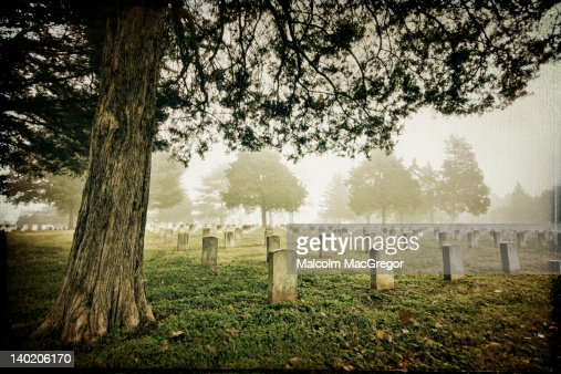 Foggy morning in civil war cemetery