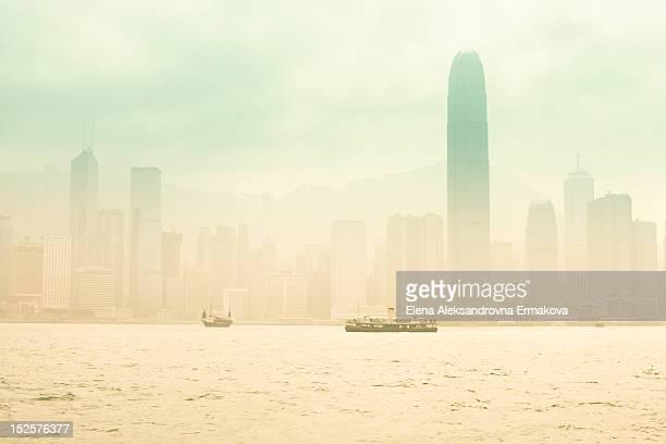 Foggy morning over Victoria Bay. Hong Kong.