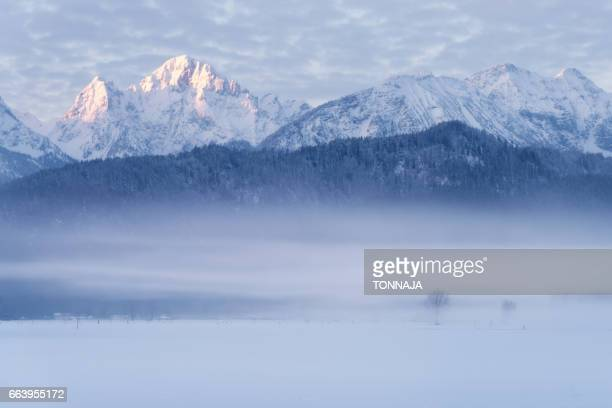 Foggy morning with snowy mountain in Germany