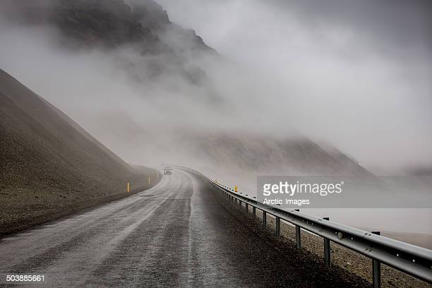 Foggy mountain pass