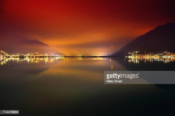 Foggy night at Lake Maggiore