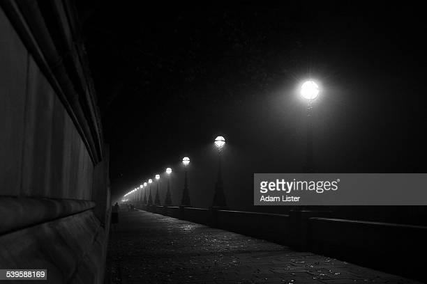 Foggy night on Thames path