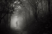 Foggy pathway and a creepy man