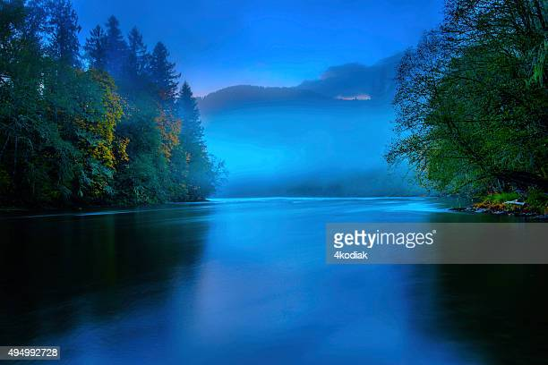 Foggy River in the evening