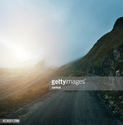 Foggy road to the sun