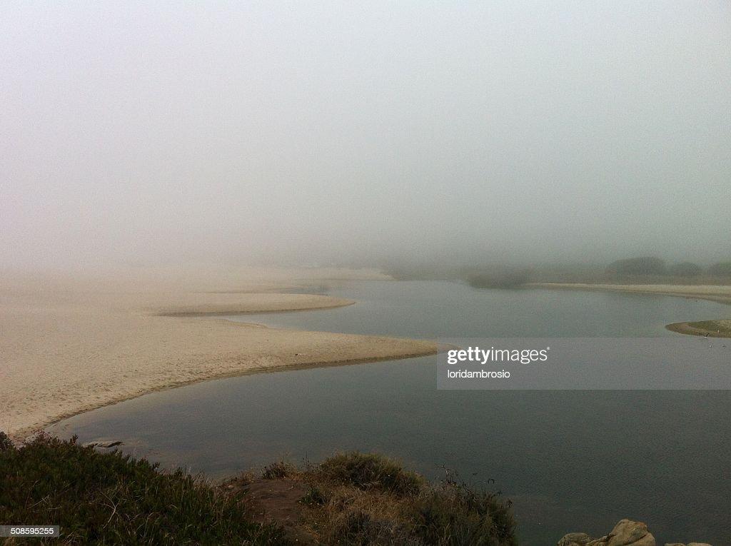 Foggy seascape/Carmel River Lagoon : Foto de stock