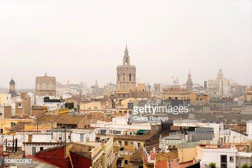 Foggy skyline Valencia : Stock Photo
