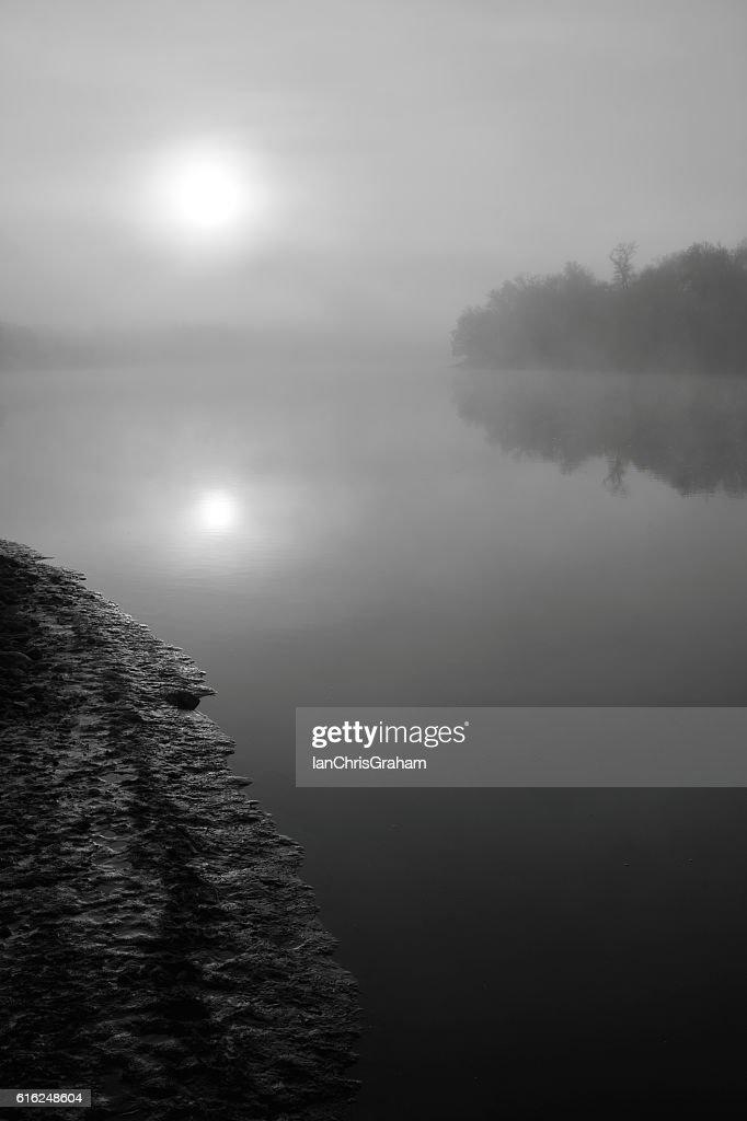 Foggy Sunrise : Stock Photo