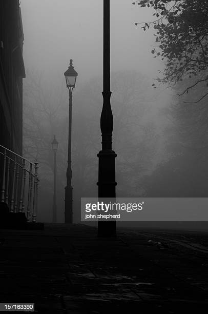 foggy victorian street early evening
