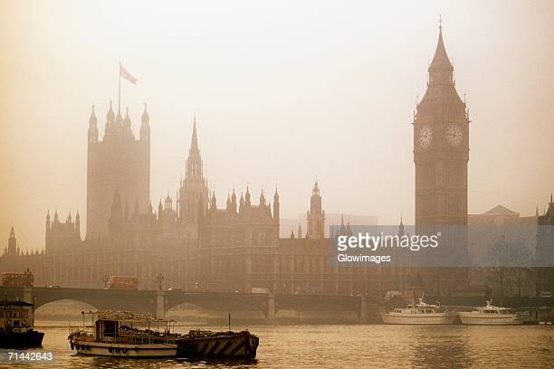 Foggy view of Big Ben and Parliament in London, England