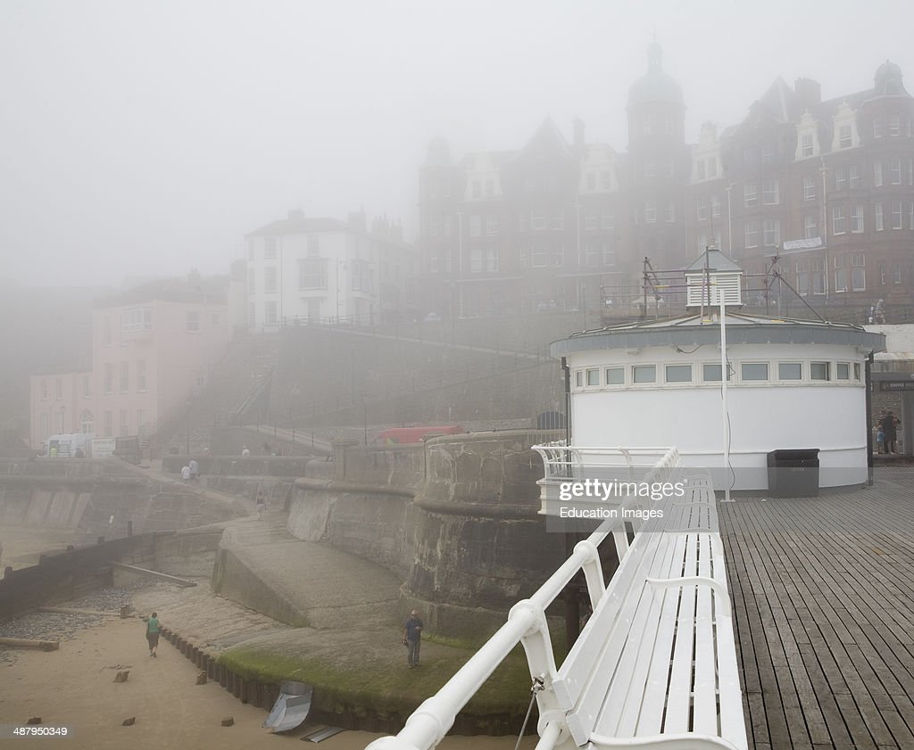 Foggy weather obscures the seafront at the seaside town of Cromer north Norfolk coast England