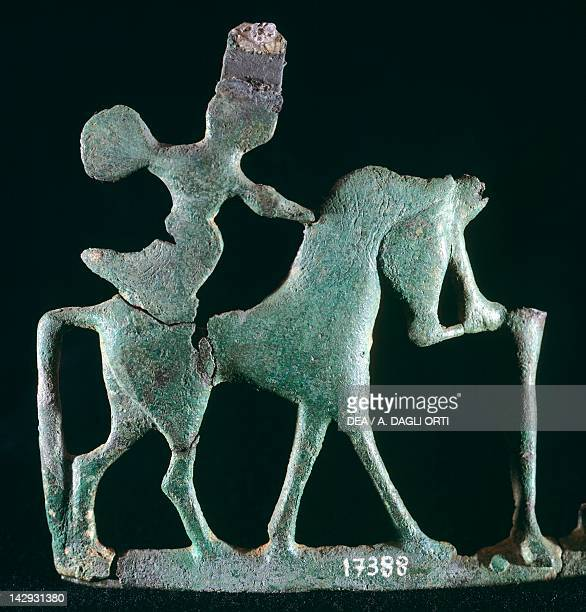 Foil bronze depicting a warrior on horseback Etruscan Civilization 7th Century BC Rome Museo Nazionale Etrusco Di Villa Giulia