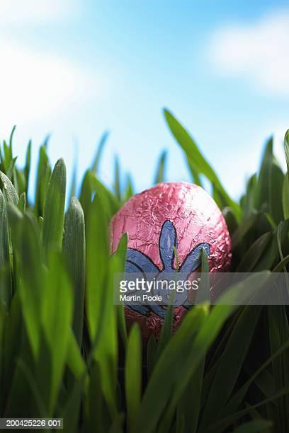 Foil wrapped Easter egg amongst green leaves