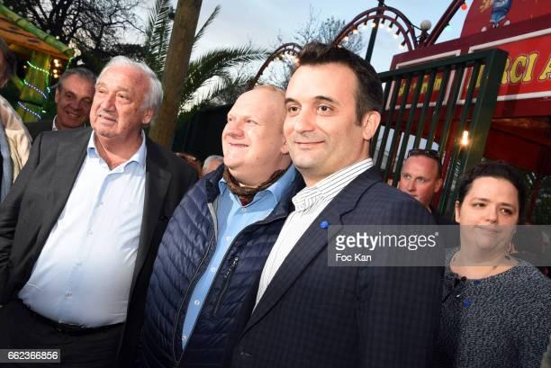 Foire du Trone CEO Marcel Campion actor Franck de la Personne and Front National Party deputy Florian Philippot attend Foire du Trone Auction Launch...