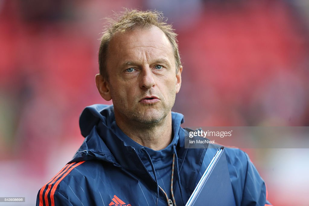 CS Fola Esch manager <a gi-track='captionPersonalityLinkClicked' href=/galleries/search?phrase=Jeff+Strasser&family=editorial&specificpeople=596322 ng-click='$event.stopPropagation()'>Jeff Strasser</a> looks on during the UEFA Europa League First Qualifying Round, First Leg match between Aberdeen and CS Fola Esch at Pittodrie Stadium on June 30, 2016 in Aberdeen, Scotland.